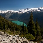 The view of Cheakamus Lake from the High Note Trail in Whistler, BC.