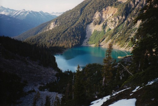 Upper Joffre Lake photographed during a climb of Slalok Mountain