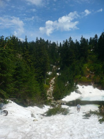 Leaving the ski run/access road and entering the main trail to Mount Seymour
