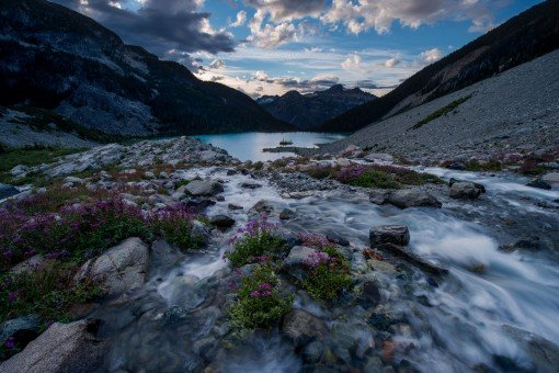 Evening view of Joffre Lake