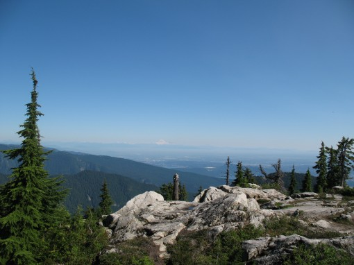 View from Goat Mountain behind Grouse Mountain and looking towards Mount Baker