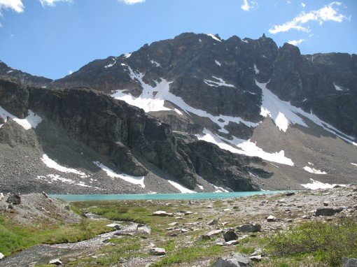 Wedgemount Lake from the surrounding alpine area