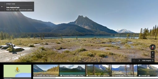 Google Street View of Emerald Lake near Banff