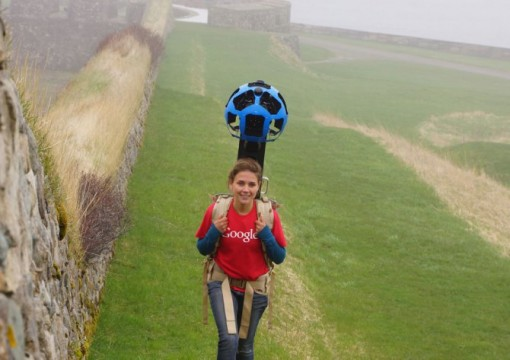 A Google Canada employee walks through the Fortress of Louisbourg in Nova Scotia