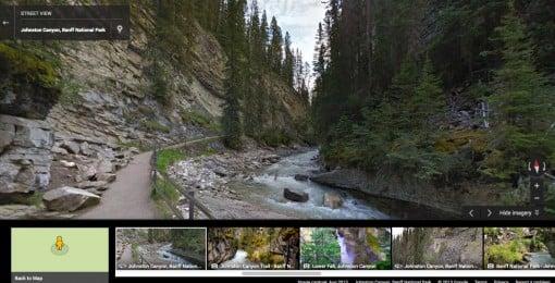 Google Street View of Johnston Canyon Banff