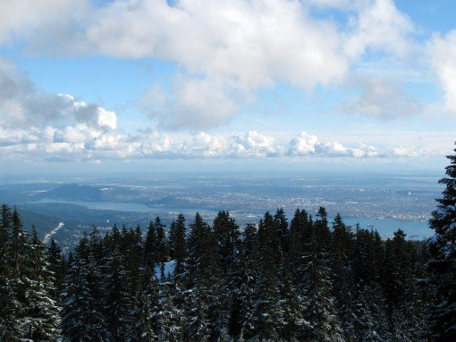 A view of Vancouver while snowshoeing along the trail to Hollyburn Mountain