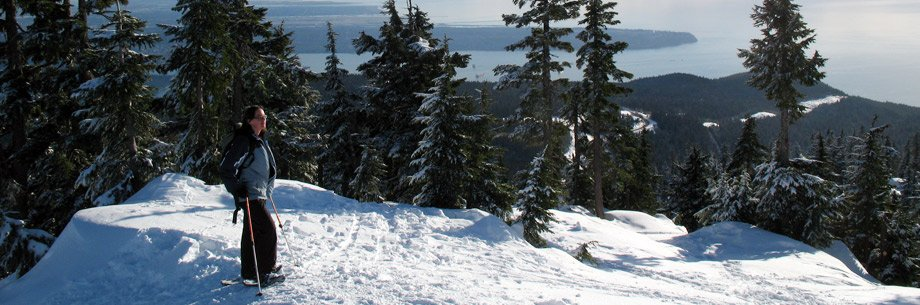 Enjoying a view, snowshoeing at Hollyburn Mountain