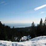 One of the first views along the snowshoe trail to Hollyburn Mountain