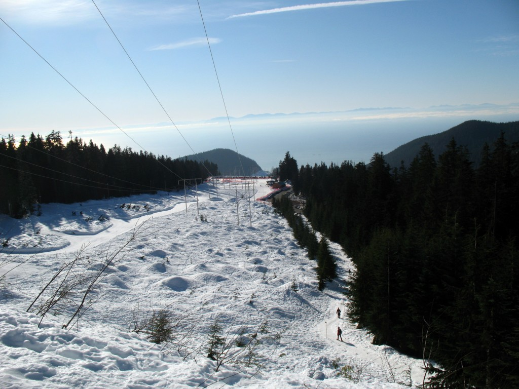 A view from the first ridge under the powerlines on the snowshoe trail to Hollyburn Mountain