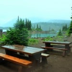 Picnic Tables at Garibaldi Lake After A Rain Storm