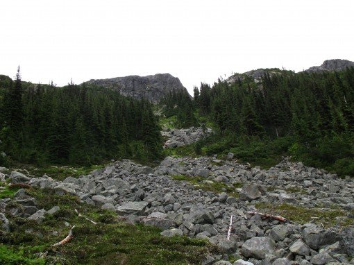 The final scramble to Wedgemount Lake