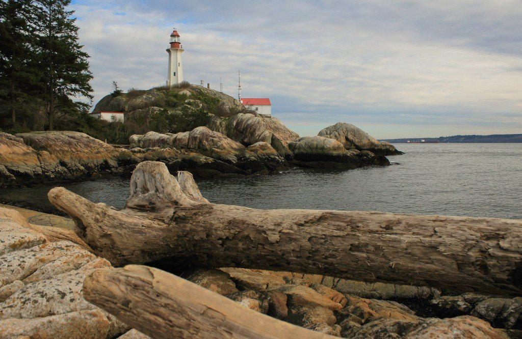 The view of the Lighthouse from West Beach in Lighthouse Park in West Vancouver