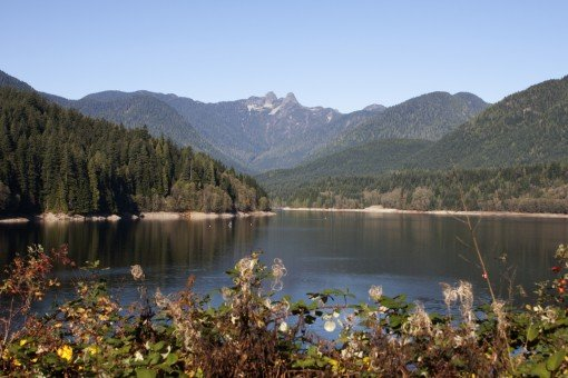 A view of the Capilano Reservoir near Cleveland Dam.