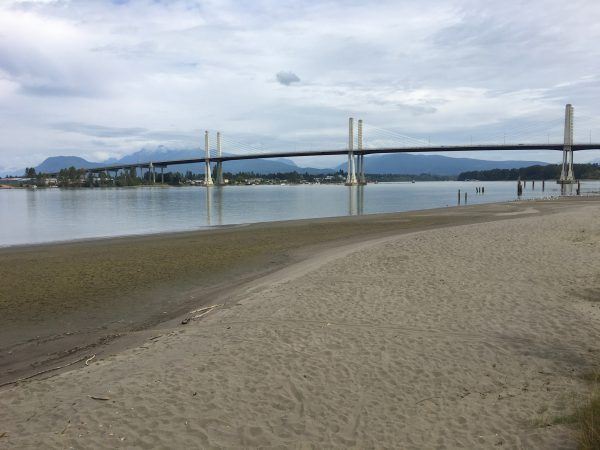 The beach and view of the Fraser River from Mann Point on Barnston Island