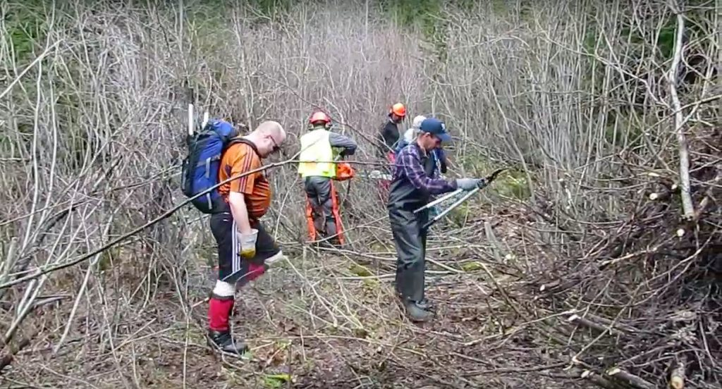BCMC Trail Crew in 2015 on the first road clearing trip of the New Watersprite Lake Trail.