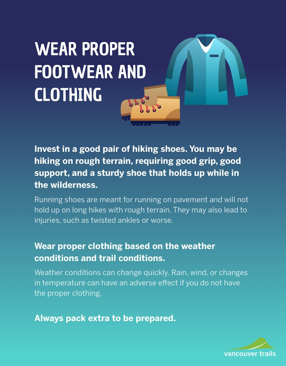 Wear Proper Footwear and Clothing