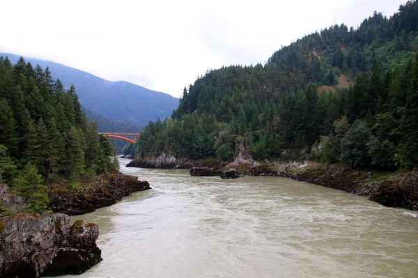 View down the Fraser River from Alexandra Bridge
