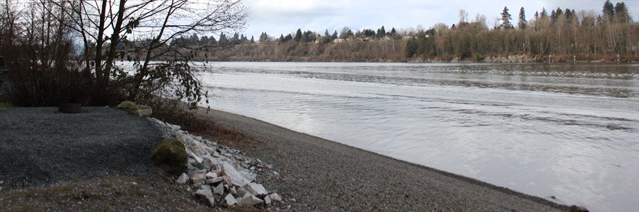 A campsite along the Fraser River in Derby Reach