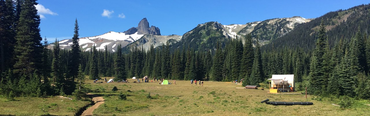 The Helm Creek Campsite with Black Tusk in the background