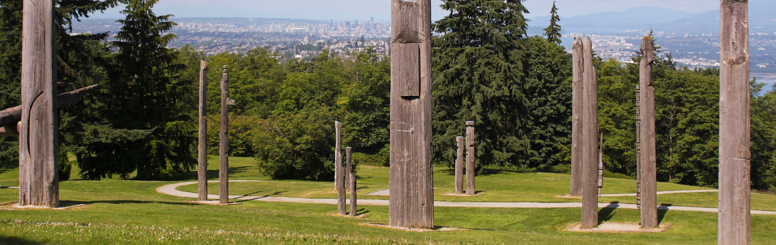 The Japanese inspired totem poles on Burnaby Mountain