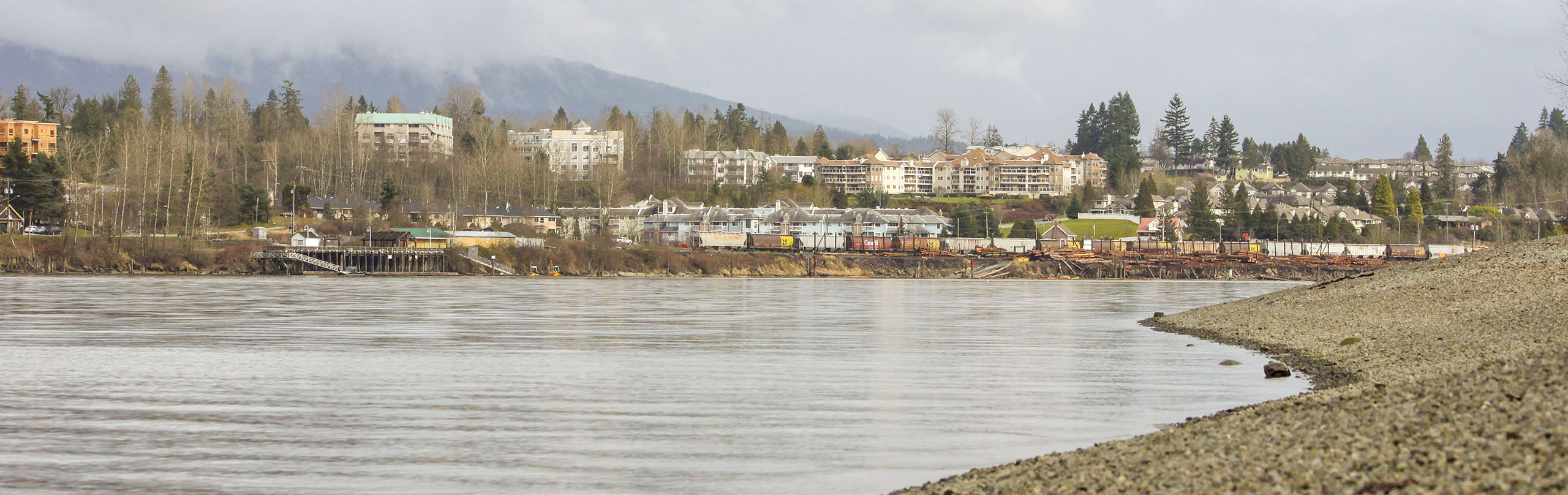 A view across the Fraser River towards Maple Ridge