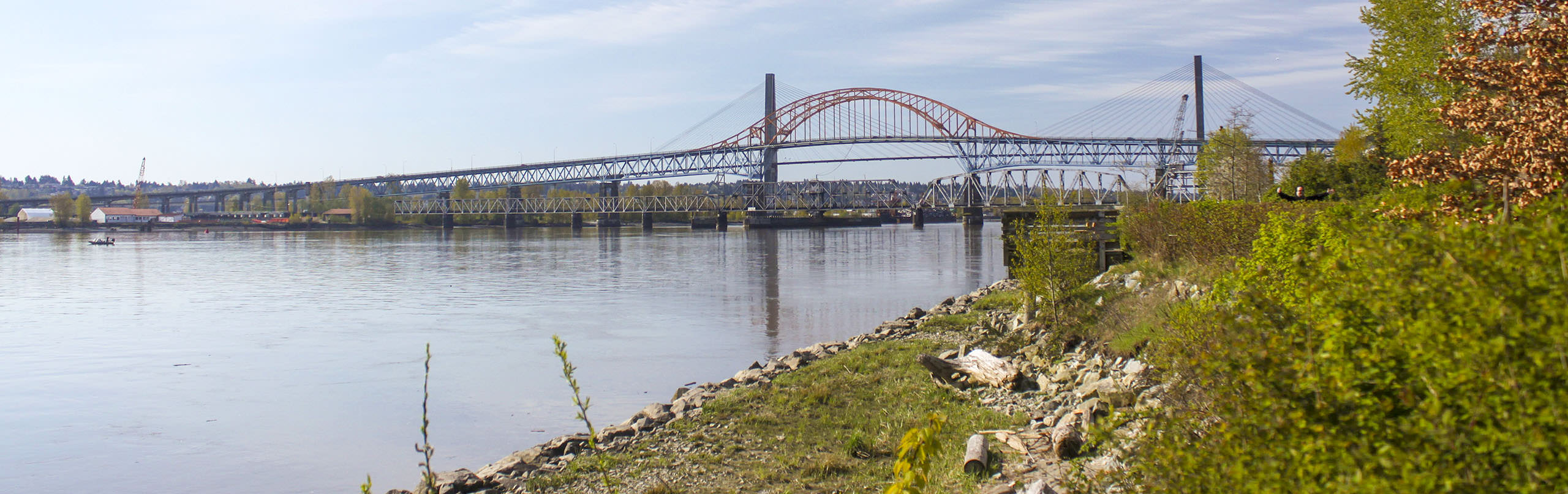A view along the Fraser River towards the Pattulo Bridge in New Westminster