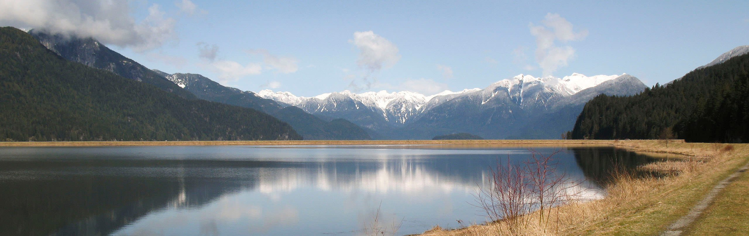 A view of the Pitt Lake area with the snow-capped mountains