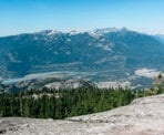 A view looking down towards the town of Squamish from a ridge along the Al's Habrich Ridge Trail