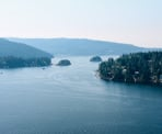 The view from Quarry Rock of Deep Cove out towards Indian Arm along the Baden Powell Trail