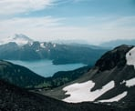 The view of Garibaldi Lake looking down from Black Tusk in Garibaldi Provincial Park