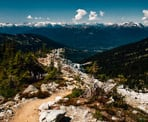 The hiking trail along a ridge near Blackcomb looking down the valley towards Whistler Village
