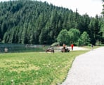 The beach at the north end of Buntzen Lake is smaller but not as busy