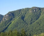 View of the Grouse Mountain Gondola from Cleveland Dam