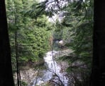 A view of the scenic Capilano River from the forest trail on the east side of the canyon