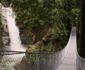 The suspension bridge crossing the canyon in front of Cascade Falls northeast of Mission, BC