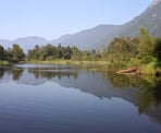 A view of the lake at Cheam Lake Wetlands in Chilliwack, BC.