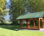 The covered picnic area at Cheam Lake Wetlands in Chilliwack, BC