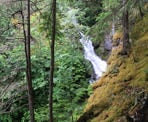 A glimpse of the waterfall in Cool Creek Canyon north of Pemberton, BC