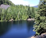 A view from the rocks, high above Loggers Lake in Whistler