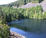 A view of Loggers Lake that is located in an extinct volcano in Whistler