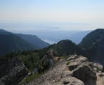 A view from Crown Mountain looking towards Vancouver on a hazy day