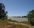 The view of the Fraser River from Deas Island Regional Park