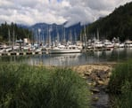 The view of the marina in Snug Cove on Bowen Island