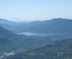 A zoomed in view of Cultus Lake from the top of Elk Mountain in Chilliwack, BC