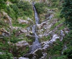 Flood Falls is a tall waterfall with a narrow band of water near Hope, BC