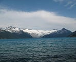 A view of Garibaldi Lake on a windy day looking towards the glacier