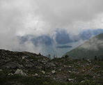 Clouds obscure the view from Panorama Ridge of Pitt Lake near Golden Ears