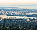 The view of downtown Vancouver from the top of Grouse Mountain