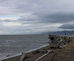 The view of Georgia Strait from Iona Beach in Richmond, BC