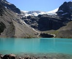 A view looking across Upper Joffre Lakes at Matier Glacier